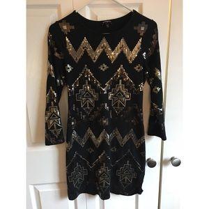 Express long sleeve sequin dress